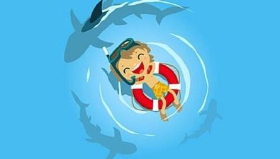 cartoon boy on lifeboat with sharks circling under him