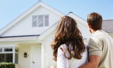 couple looking at house