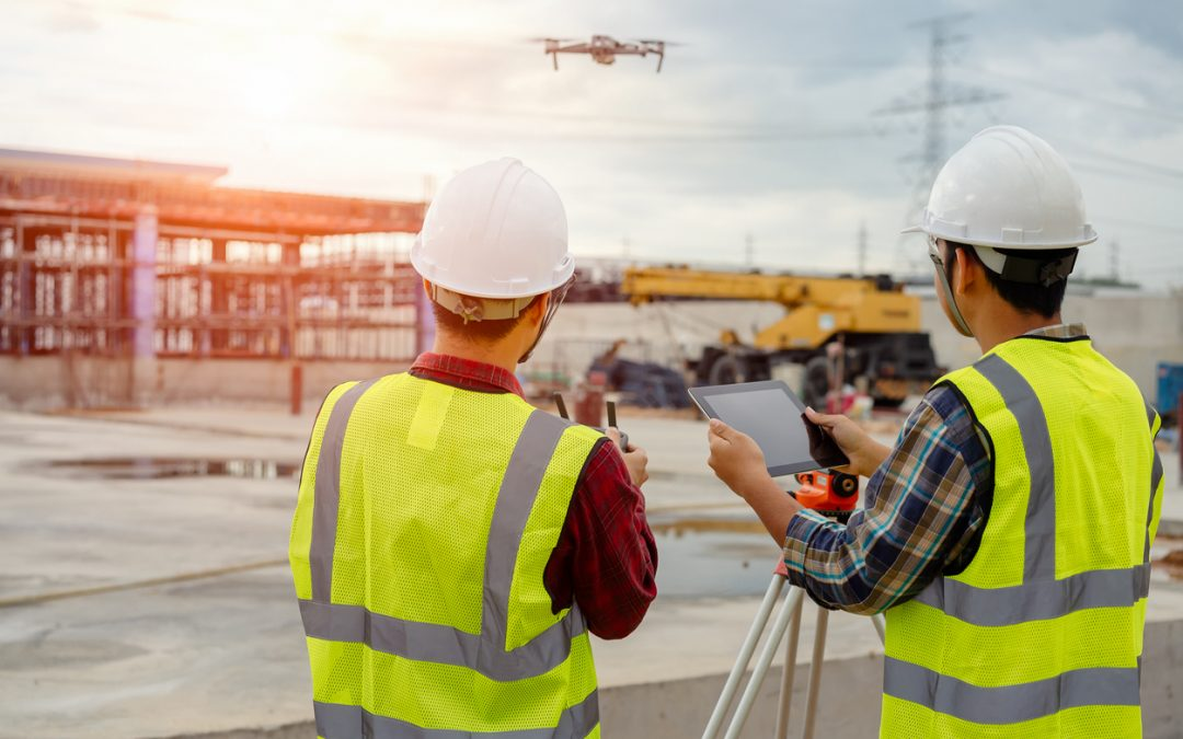 Drone operated by construction worker